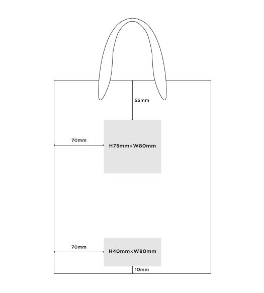 紙袋M縦サイズの印字範囲
