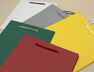 カラーバリエーションの異なる5つの紙袋が並ぶ