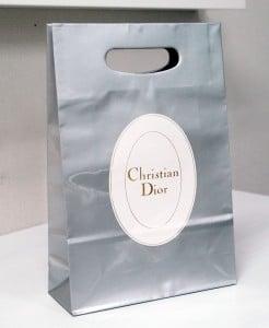 キラキラの小判型手抜きショップ袋