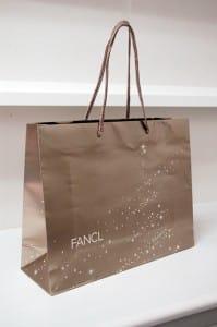クリスマスを思わせるシアーなゴールド紙袋
