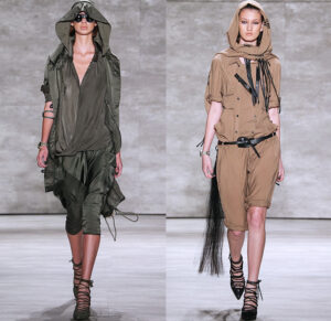 nicholas-k-mercedes-benz-fashion-week-new-york-runway-2015-spring-summer-womens-safari-desert-head-wrap-drapery-silk-parka-shorts-fringes-dress-06x