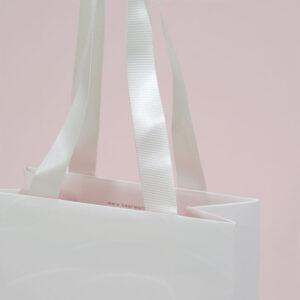 紙袋, ハンドル, 白, グログランテープ