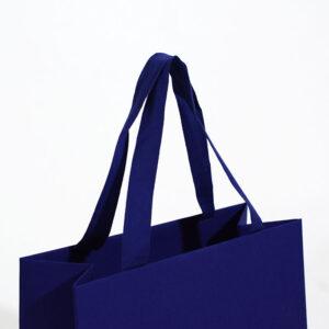 紙袋, ハンドル, 縦留め, ブルー