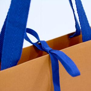 紙袋, 口留め, リボン, ブルー