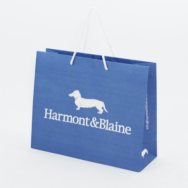 爽やかブルーとボーダーでマリンカジュアルな紙袋