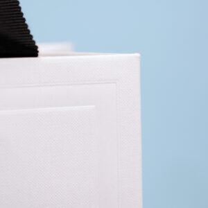 紙全体と縁取りにそれぞれエンボス加工をした紙袋