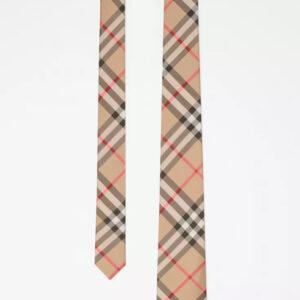 ベージュのチェック柄ネクタイ