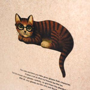 眼鏡をかけたレトロタッチな猫のイラスト