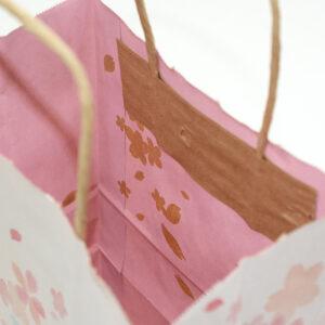 内面印刷の桜の紙袋