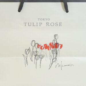 チューリップのイラストとロゴの紙袋デザイン