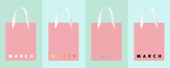 ロゴの色で変わる紙袋のイメージ